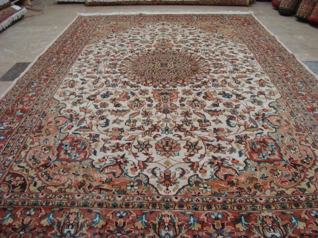 MOON MEDALLION FLORAL ORIENTAL HAND KNOTTED RUG WOOL SILK CARPET 9x6 FB-2760