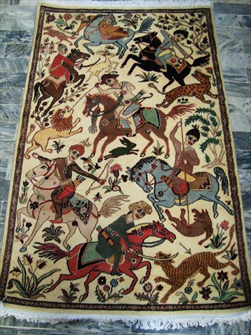 Horses King Hunting Hand Knotted Rug Fine Car 5 8x3 6